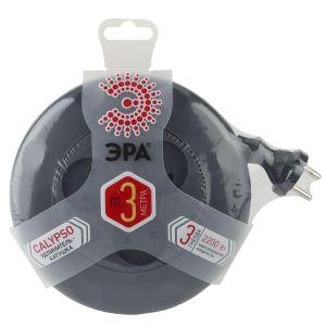 Сетевой удлинитель ЭРА UR-3-3m-B рулетка, без заземл, 2x0.75мм2, 3гн, 3м чёрный сетевые фильтры эра удлинитель u 5e 3m 3м
