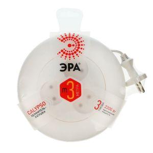 Сетевой удлинитель ЭРА UR-3-3m-W рулетка, без заземл, 2x0.75мм2, 3гн, 3м белый сетевые фильтры эра удлинитель u 5e 3m 3м