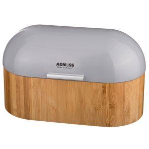 Хлебница Золотой Век 938-010 деревянная с металлической крышкой