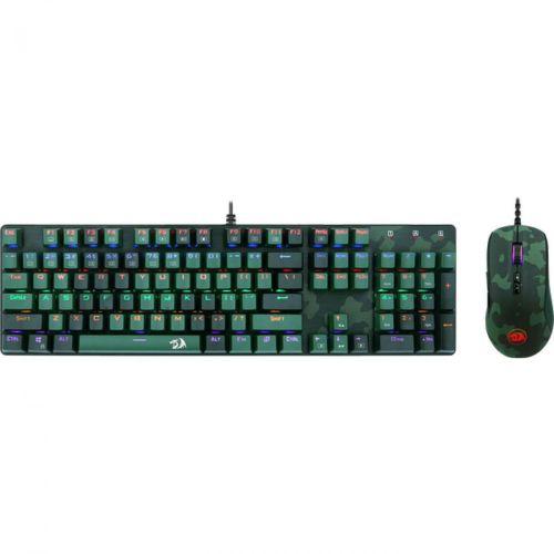 Комплект клавиатура и мышь Redragon S108 чёрный/зеленый