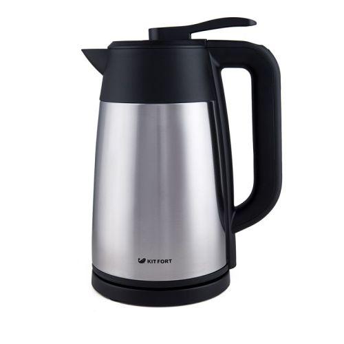 Электрический чайник Kitfort KT-620 серебристый/черный цвет серебристый/черный