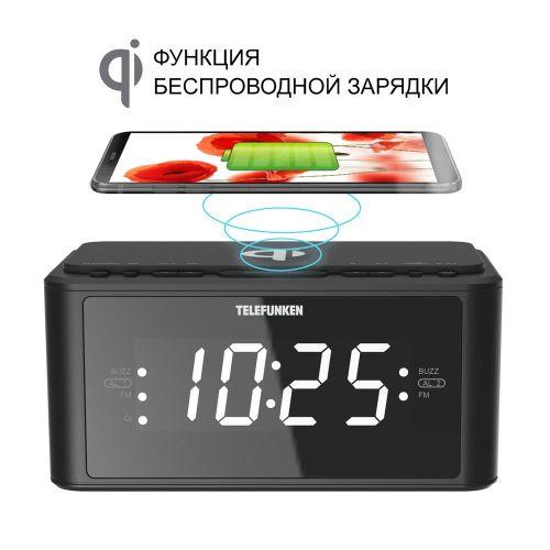Радиоприемник с часами Telefunken TF-1595U чёрный черного цвета