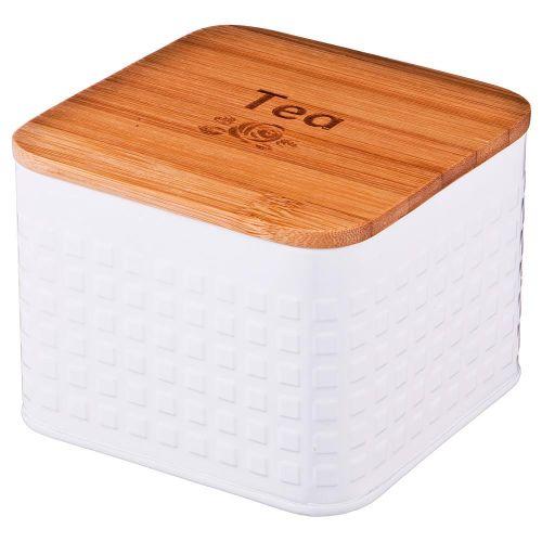 Емкость для хранения Арти М 790-158 для чайных пакетиков 11*11*7 см белый/золотой фото