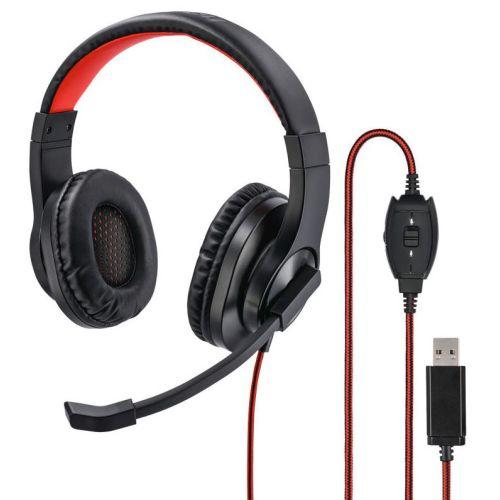 Компьютерная гарнитура HAMA HS-USB400 чёрный/красный цвет чёрный/красный