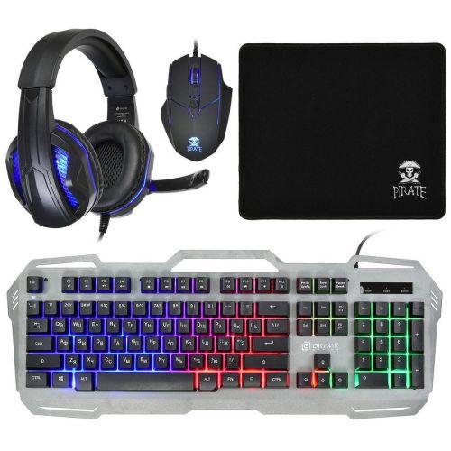 Комплект клавиатура и мышь Oklick HS-HKM300G чёрный черного цвета