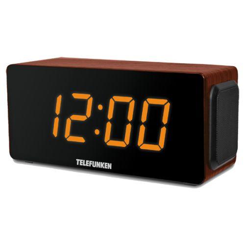 Радиоприемник с часами Telefunken TF-1566U коричневый фото