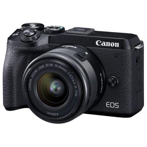 Цифровой фотоаппарат Canon M6 Mark II 15-45 IS чёрный черного цвета