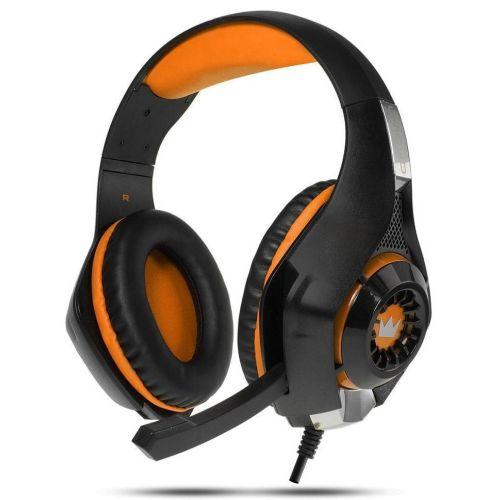 Компьютерная гарнитура CROWN CMGH-102T черный с оранжевым цвет черный с оранжевым