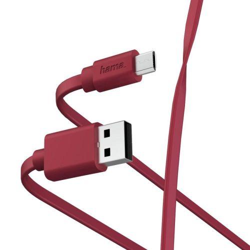 Кабель USB HAMA 00187227 microUSB (m) USB A(m) 1м красный плоский