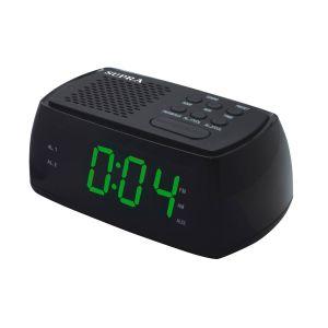 Радиоприемник с часами Supra SA-45FM чёрный/зеленый радиочасы supra sa 16fm