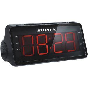Радиоприемник с часами Supra SA-46FM чёрный/красный радиочасы supra sa 16fm