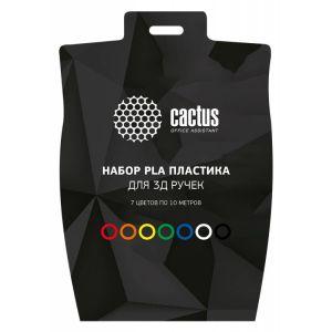 Пластик для ручки 3D Cactus CS-3D-PLA-7X10M PLA d1.75мм L10м 7цв. pla пластик для 3d ручки tesla pla09 серебристый